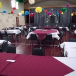 Hall set up for a party